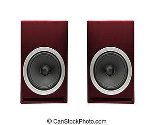 bianco, audio, altoparlante, isolato