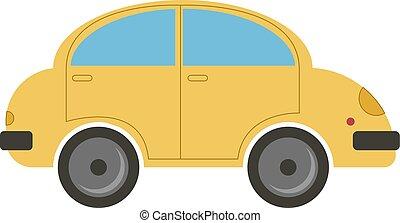 bianco, automobile, giallo, fondo., vettore, illustrazione