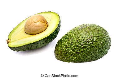 bianco, avocado, isolato