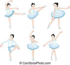 bianco, ballerini, balletto