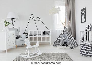 bianco, bambino, stanza, mobilia