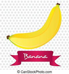 bianco, banana, isolato