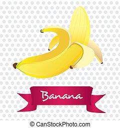 bianco, banana sbucciata, isolato