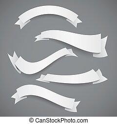 bianco, bandiere, carta, ondulato, nastri, o, set