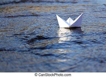 bianco, barca carta, navigazione
