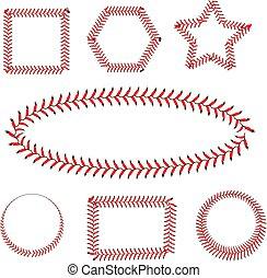 bianco, baseball, laccio, fondo