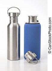 bianco, bere, acciaio, acqua, utensili, fondo., metallo, ...