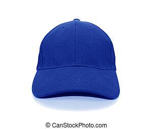 bianco, berretto, baseball, isolato, fondo