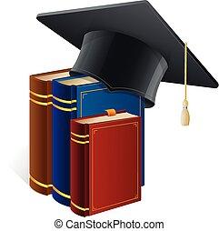 bianco, berretto, libri, isolato, graduazione