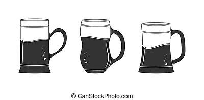 bianco, bevanda, contorno, vuoto, fondo, isolato, tazza, set