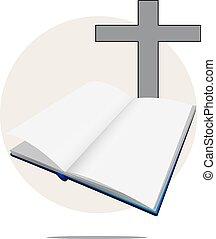 bianco, bibbia, croce, illustrazione