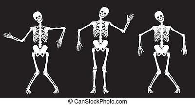 bianco, black., scheletri, ballo