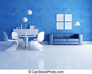 bianco, blu, stanza, cenando