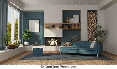 bianco, blu, stanza, vivente, caminetto