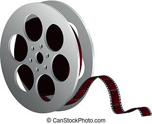 bianco, bobina, film, contro