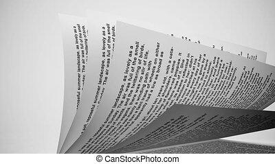 bianco, book's, pagine, turning.