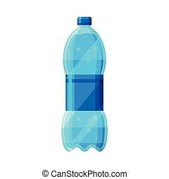 bianco, bottiglia, acqua, illustrazione, fondo, vettore, plastica, purificato