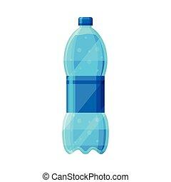 bianco, bottiglia, acqua, pulito, illustrazione, fondo, vettore, plastica, purificato