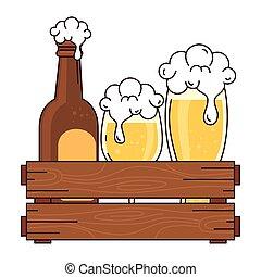 bianco, bottiglia, tazza, scatola, legno, vetro, fondo, birra