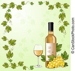 bianco, bottiglia, vino