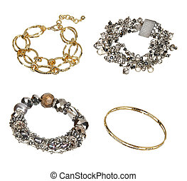 bianco, braccialetto, argento, isolato