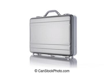 bianco, briefcase metallo, fondo