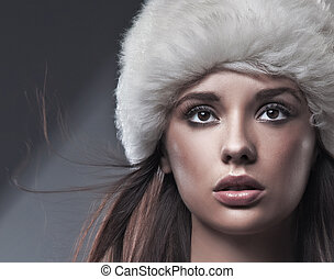 bianco, brunetta, cappello, bellezza