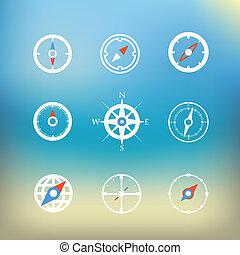 bianco, bussola, icone, clip-art, su, sfondo colore