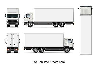 bianco, camion, isolato, fondo