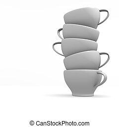 bianco, campanelle, accatastato, caffè