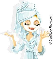 bianco, carino, visiera protettiva, lei, accappatoio, isolato, ragazza, fondo, cosmetico