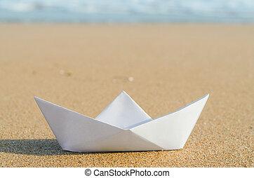 bianco, carta, spiaggia, barca