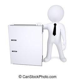 bianco, cartella, umano, ufficio, 3d
