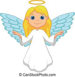 bianco, cartone animato, angelo