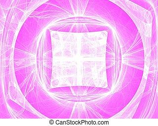 bianco, cerchi, e, curve, fractal, immagine, su, rosa