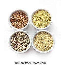 bianco, cereali, isolato, collezione