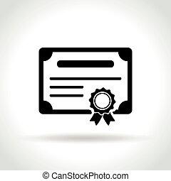 bianco, certificato, fondo, icona