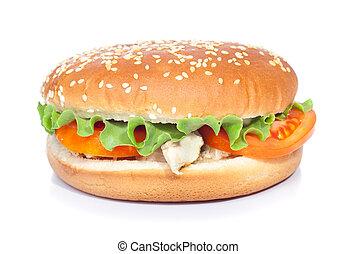 bianco, chickenburger, isolato