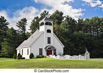 bianco, chiesa, in, nuova inghilterra