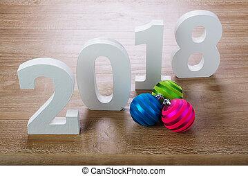bianco, cifre, 2018, con, natale, palle, su, legno, fondo