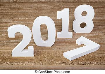 bianco, cifre, 2018, su, legno, fondo