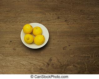 bianco, ciotola, porcellana, limoni