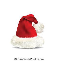 bianco, claus, cappello, isolato, santa
