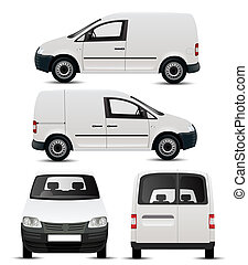 bianco, commerciale, veicolo, mockup