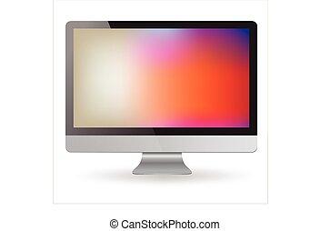 bianco, computer, mostra, isolato