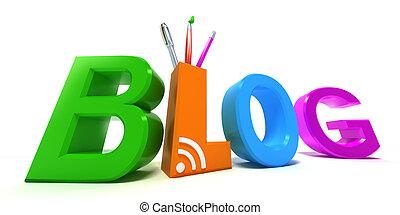 bianco, concetto, colorito, 3d, blog.