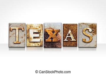 bianco, concetto, texas, isolato, letterpress