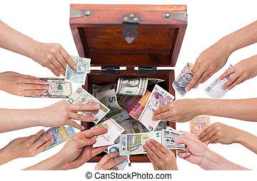 bianco, concetto, valute, isolato, crowdfunding