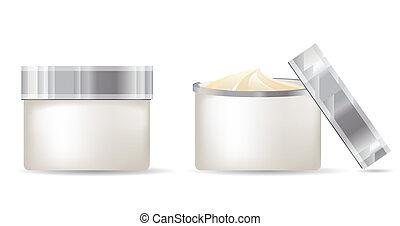 bianco, contenitori, isolato, fondo, crema