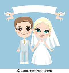 bianco, coppia, matrimonio